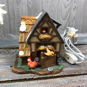 Chicken Coop Ceramic Light with Switch Decoration